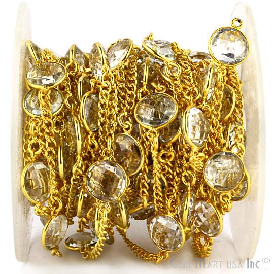 Crystal Fancy 10mm Connector Chain, Gold Plated Bezel Connector Link Rosary Chain, Jewelry Making Supplies (GPCL-20008)