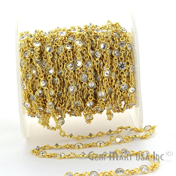 Crystal Connector Chain, Gold Plated Bezel Continuous Connector Chain, Jewelry Making Supplies (GPCL-20011)