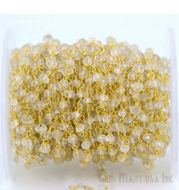 Crystal 3-35mm Beads Chain, Gold Plated wire wrapped Rosary Chain, Jewelry Making Supplies (GPCL-30002)