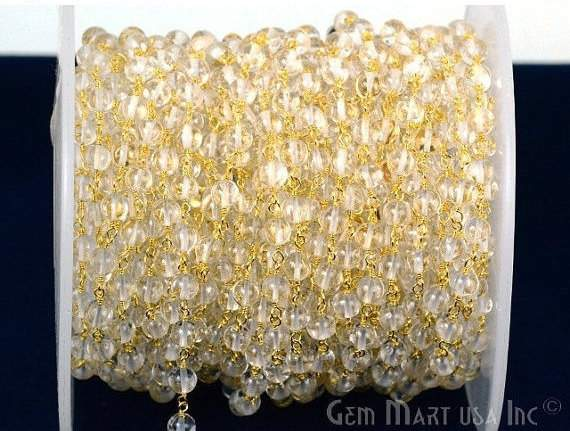 Crystal 5mm Beads Chain, Gold Plated wire wrapped Rosary Chain, Jewelry Making Supplies (GPCL-30005)