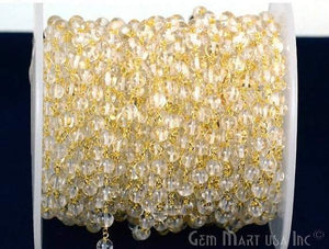Crystal 5mm Gold Plated Wire Wrapped Beads Rosary Chain
