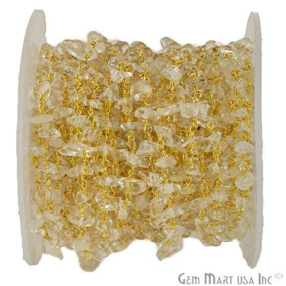 Crystal Nugget Chip Beads Chain, Gold Plated wire wrapped Rosary Chain, Jewelry Making Supplies (GPCL-30025)