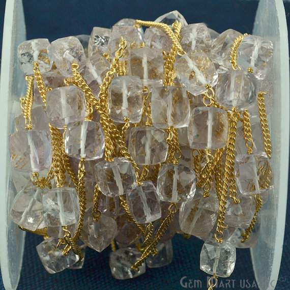 Crystal Box 7-8mm Beads Chain, Gold Plated wire wrapped Rosary Chain, Jewelry Making Supplies (GPCL-30033)