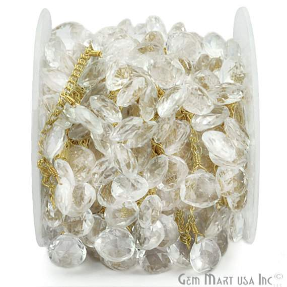 Crystal 10x8mm Briolette Beads Chain, Gold Plated wire wrapped Rosary Chain, Jewelry Making Supplies (GPCL-30074)