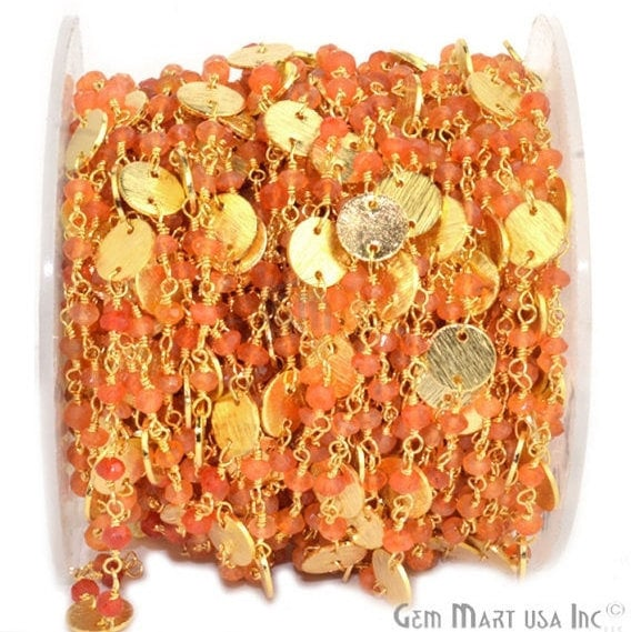 Carnelian Beads Rosary Chain, Gold Plated Wire Wrapped Rosary Chain, Jewelry Making Supplies (Gpcn-30016)