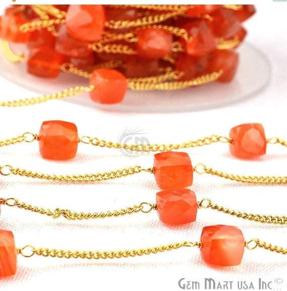 Carnelian 7-8mm Box Beads Chain, Gold Plated wire wrapped Rosary Chain, Jewelry Making Supplies (GPCN-30033)