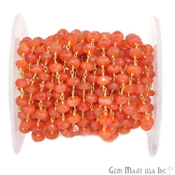 Carnelian 7-8mm Beads Chain, Gold Plated wire wrapped Rosary Chain, Jewelry Making Supplies (GPCN-30035)