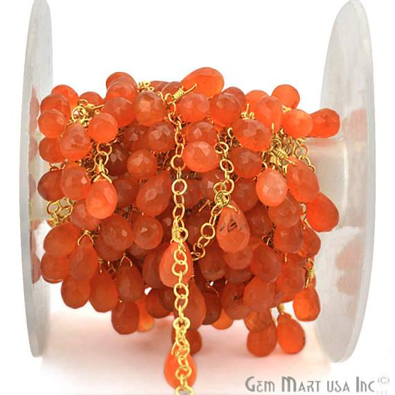Carnelian 8x5mm Beads Chain, Gold Plated wire wrapped Rosary Chain, Jewelry Making Supplies (GPCN-30072)