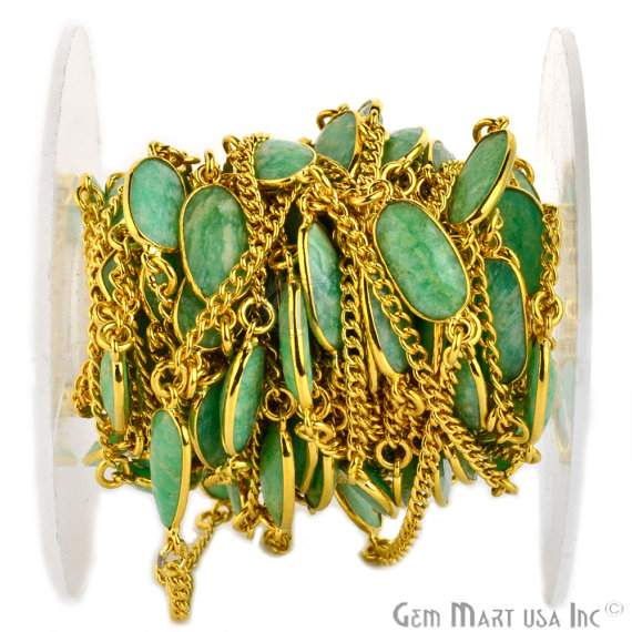 Chrysoprase 10mm Connector Chain, Gold Plated Bezel Connector Link Rosary Chain, Jewelry Making Supplies (GPCP-20001)