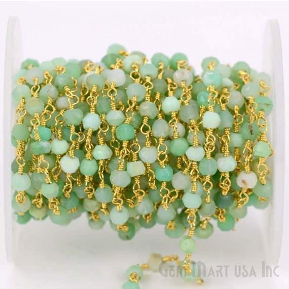 Chrysoprase 3-35mm Beads Chain, Gold Plated wire wrapped Rosary Chain, Jewelry Making Supplies (GPCP-30002)