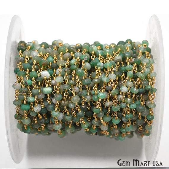 Chrysoprase Beads Chain, Gold Plated wire wrapped Rosary Chain, Jewelry Making Supplies (GPCP-30003)