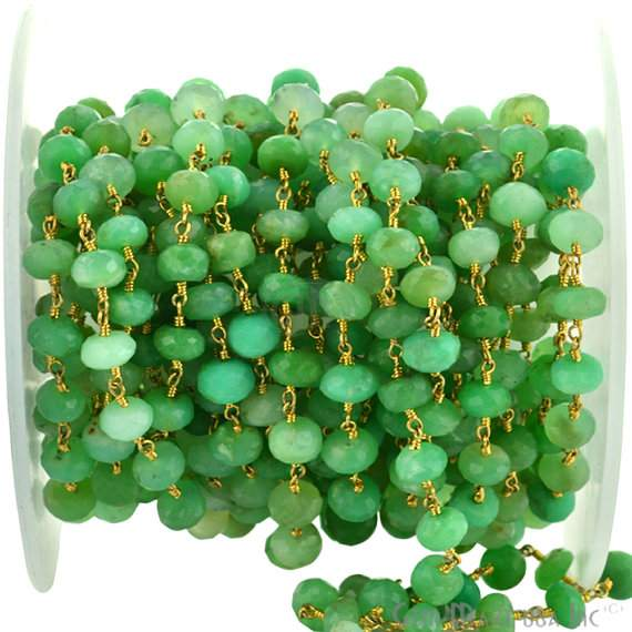 Chrysoprase 6-7mm Beads Chain, Gold Plated wire wrapped Rosary Chain, Jewelry Making Supplies (GPCP-30036)