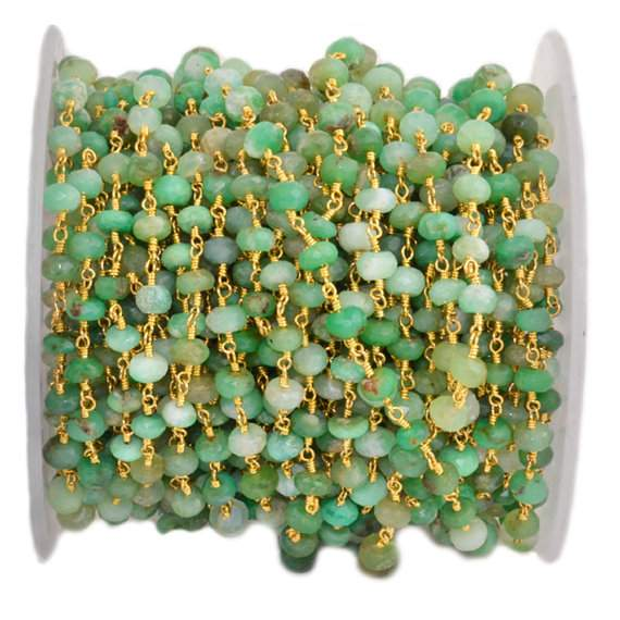 Chrysoprase 5-6mm Beads Chain, Gold Plated wire wrapped Rosary Chain, Jewelry Making Supplies (GPCP-30038)