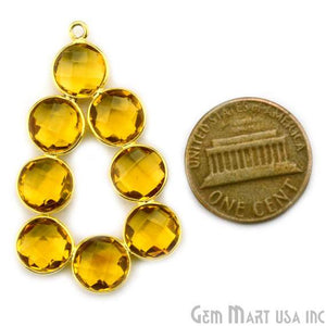 Citrine 41x25mm Gold Plated Gemstone Bezel Component - GemMartUSA