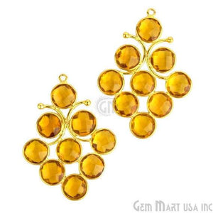 Citrine 45x29mm Gold Plated Gemstone Bezel Component - GemMartUSA