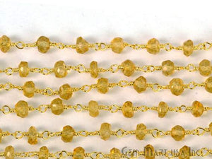Citrine 4mm Gold Plated Wire Wrapped Beads Rosary Chain