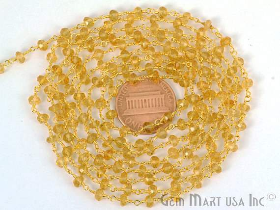 Citrine 4mm Beads Chain, Gold Plated wire wrapped Rosary Chain, Jewelry Making Supplies (GPCT-30003)