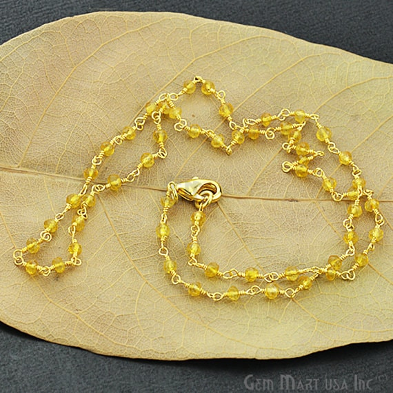 Natural Citrine Necklace chain, 18 Inch Gold Plated Beaded Necklace Jewellery