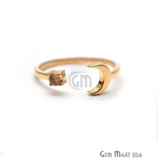 Moon and Round Citrine Gold Plated Plain Tiny Adjustable Ring