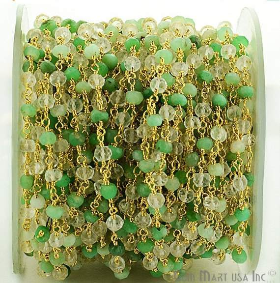 Chrysoprase with Crystal 3-35mm Beads Chain, Gold Plated wire wrapped Rosary Chain, Jewelry Making Supplies (GPCY-30002)