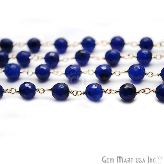 Dark Blue Jade Faceted Beads Chain, Gold Plated wire wrapped Rosary Chain, Jewelry Making Supplies (GPDB-30014)