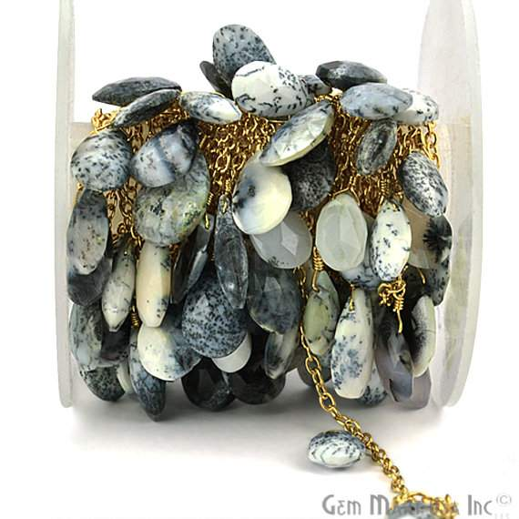 Dendrite Opal Briolette 10x7mm Beads Chain, Gold Plated wire wrapped Rosary Chain, Jewelry Making Supplies (GPDO-30069)