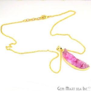 One Of A Kind Pink Rough Druzy 12X48mm Gold Electroplated 18 Inch Chain With Pendant - GemMartUSA