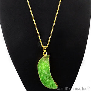 One Of A Kind Green Rough Druzy 48x15mm Gold Electroplated 18 Inch Chain With Pendant - GemMartUSA