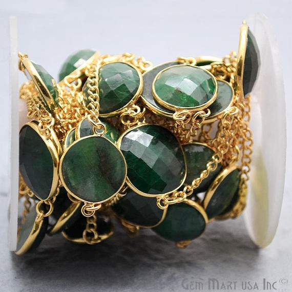 Emerald Connector Chain, Gold Plated Continuous Connector Bezel Chain, Jewelry Making Supplies (GPEM-20007)