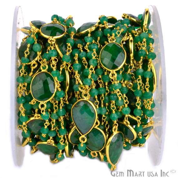 One Foot Beautiful Emerald Rosary Connector Chain, Connectors measure about 10mm, 24k Gold Plated (Gpem-20015)