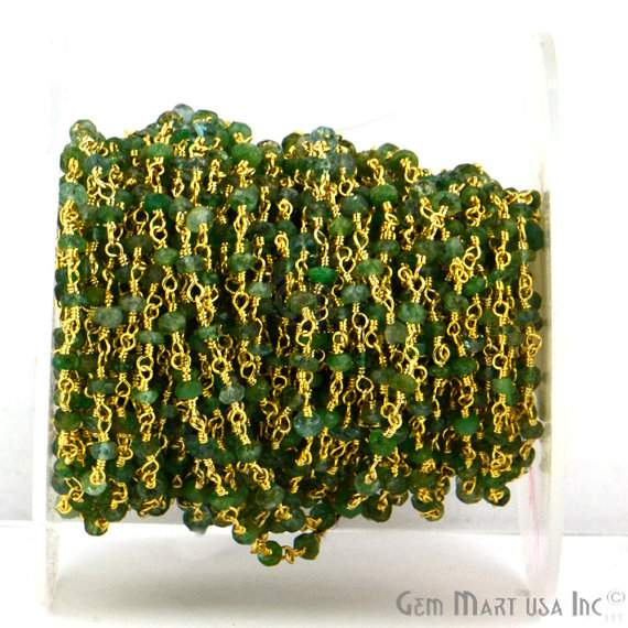 AAA Emerald 25-3mm Beads Chain, Gold Plated wire wrapped Rosary Chain, Jewelry Making Supplies (GPEM-30005)