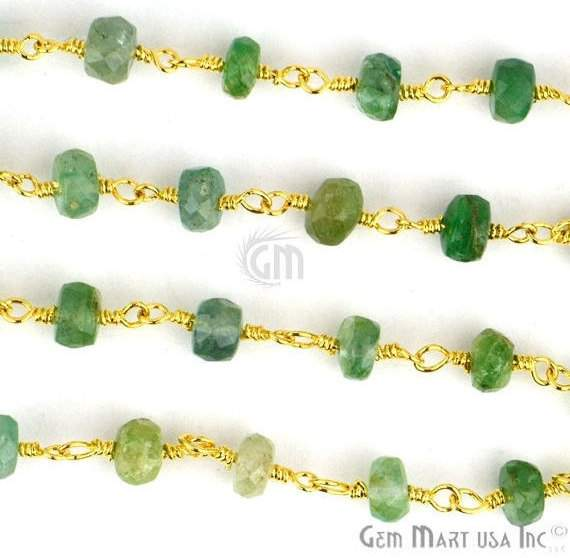 AAA Emerald 3-35mm Beads Chain, Gold Plated wire wrapped Rosary Chain, Jewelry Making Supplies (GPEM-30006)