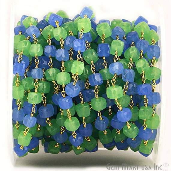 Green & Blue Chalcedony 5-6mm Box Beads Chain, Gold Plated wire wrapped Rosary Chain, Jewelry Making Supplies (GPGB-30008)