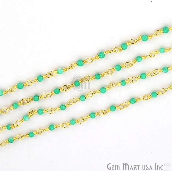 Green Chalcedony Smooth 2-25mm Beads Chain, Gold Plated wire wrapped Rosary Chain, Jewelry Making Supplies (GPGC-30000)