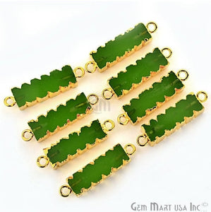 Green Chalcedony 32x9mm Double Bails Gold Eletroplated Bar Charm Necklace Pendant (GPGC-50002)