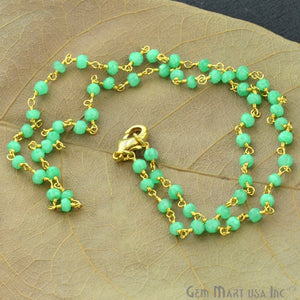 Natural Green Chalcedony Necklace chain, 18 Inch Gold Plated Beaded Necklace Jewellery - GemMartUSA