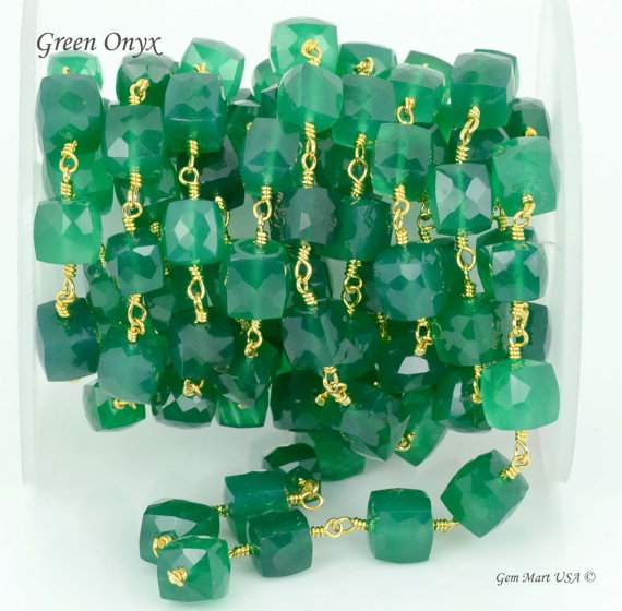 Green Onyx Cube Chain 5-6mm Beads Chain, Gold Plated wire wrapped Rosary Chain, Jewelry Making Supplies (GPGO-30008)