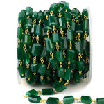 Green Onyx Fancy Cut Beads 24k gold Plated Wire Wrapped Rosary Chain by foot (GPGO-30042)