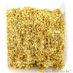 Golden Pyrite Cluster Fancy 25-3mm Beads Chain, Gold Plated wire wrapped Rosary Chain, Jewelry Making Supplies (GPGP-30021)