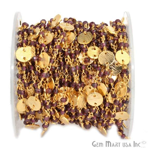 Garnet 3-35mm Beads Chain, Gold Plated wire wrapped Rosary Chain, Jewelry Making Supplies (GPGT-30016)