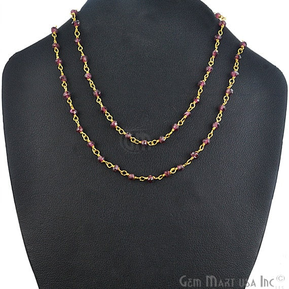 Natural Garnet Necklace chain, 18 Inch Gold Plated Beaded Necklace Jewellery