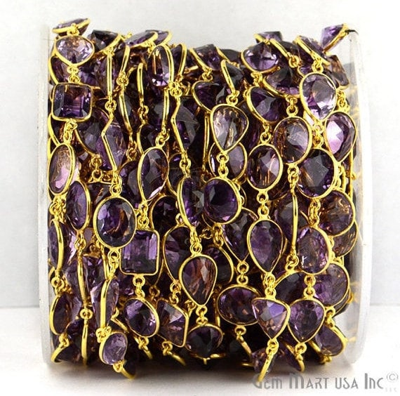 Amethyst Connector Chain, Gold Plated Bezel Continuous Connector Chain, Jewelry Making Supplies (GPHA-20005)