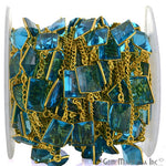 Hydro Blue Topaz Connector Chain, Gold Plated Bezel Continuous Connector Chain, Jewelry Making Supplies (GPHB-20010)