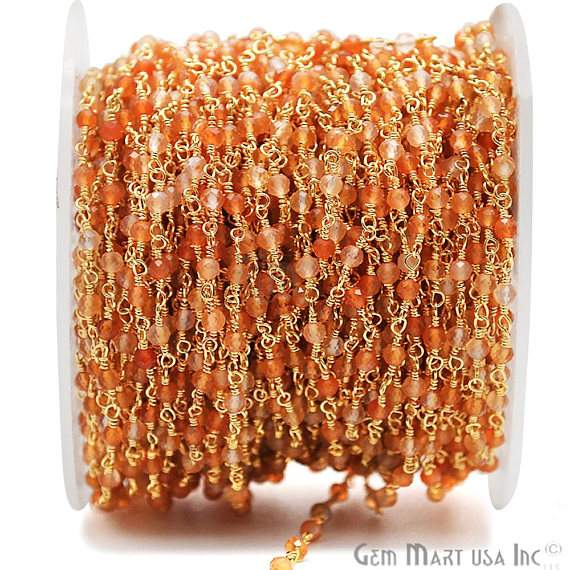 Shaded Hessonite Beads Chain, Gold Plated wire wrapped Rosary Chain, Jewelry Making Supplies (GPHE-30001)
