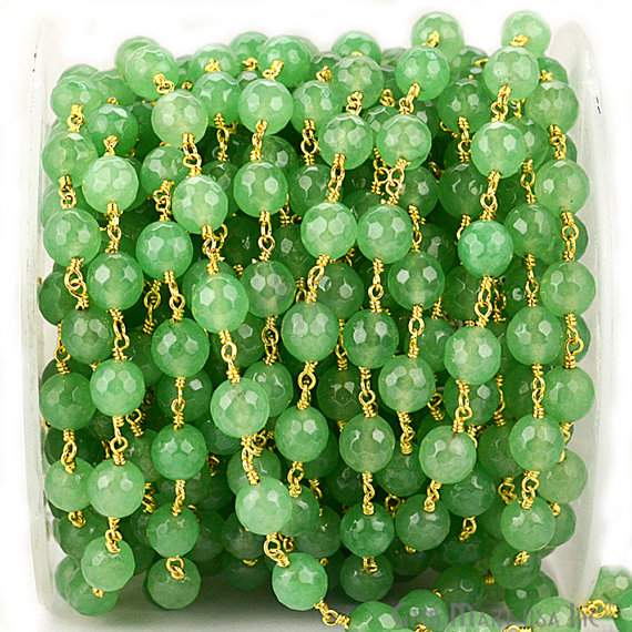 Baby Green Jade 8mm Beads Chain, Gold Plated wire wrapped Rosary Chain, Jewelry Making Supplies (GPJG-30013)