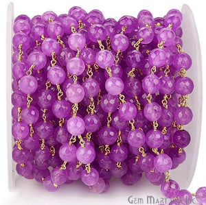 Lavender Jade 8mm Beads Gold Plated Wire Wrapped Rosary Chain
