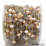 Labradorite & Pink Pearl Beads Chain, Gold Plated wire wrapped Rosary Chain, Jewelry Making Supplies (GPKL-30038)
