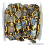 Labradorite Connector Chain, Gold Plated Bezel Continuous Connector Chain, Jewelry Making Supplies (GPLB-20008)