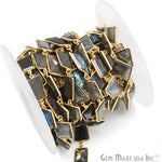 Labradorite Connector Chain, Gold Plated Bezel Continuous Connector Chain, Jewelry Making Supplies (GPLB-20009)