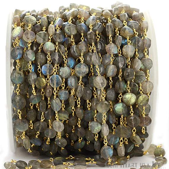 Labradorite Coin 6-7mm Beads Chain, Gold Plated wire wrapped Rosary Chain, Jewelry Making Supplies (GPLB-30012)